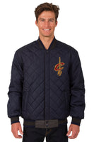 Cleveland Cavaliers Wool & Leather Reversible Jacket w/ Embroidered Logos - Charcoal/Navy