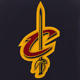 Cleveland Cavaliers - JH Design Reversible Fleece Jacket with Faux Leather Sleeves -Navy/White - JH Design