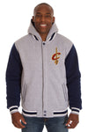 Cleveland Cavaliers Two-Tone Reversible Fleece Hooded Jacket - Gray/Navy