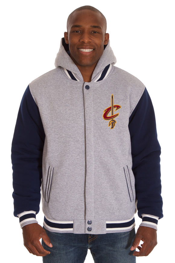 Cleveland Cavaliers Two-Tone Reversible Fleece Hooded Jacket - Gray/Navy - JH Design