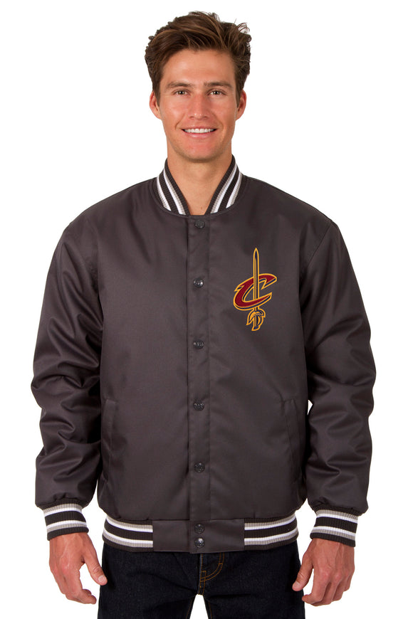 Cleveland Cavaliers Poly Twill Varsity Jacket - Charcoal - JH Design
