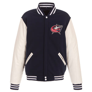 Columbus Blue Jackets JH Design Reversible Fleece Jacket with Faux Leather Sleeves - Navy/White - JH Design