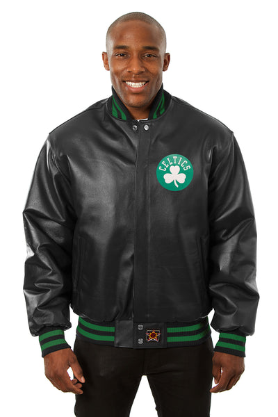 Boston Celtics Full Leather Jacket - Black
