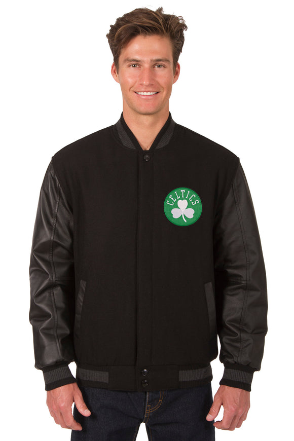 Boston Celtics Wool & Leather Reversible Jacket w/ Embroidered Logos - Black - JH Design