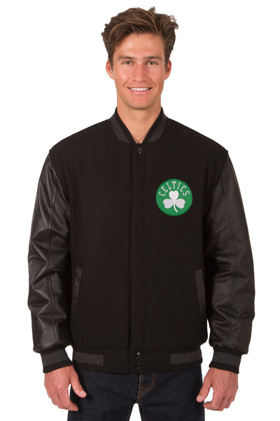 Boston Celtics Wool & Leather Reversible Jacket w/ Embroidered Logos - Black