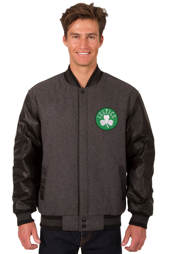 Boston Celtics Wool & Leather Reversible Jacket w/ Embroidered Logos - Charcoal/Black - JH Design