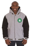 Boston Celtics Two-Tone Reversible Fleece Hooded Jacket - Gray/Black