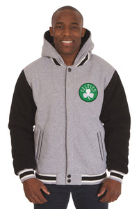 Boston Celtics Two-Tone Reversible Fleece Hooded Jacket - Gray/Black - JH Design