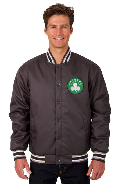 Boston Celtics Poly Twill Varsity Jacket - Charcoal