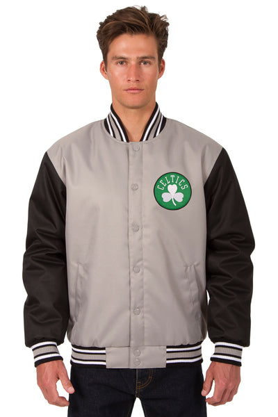 Boston Celtics Poly Twill Varsity Jacket - Gray/Black