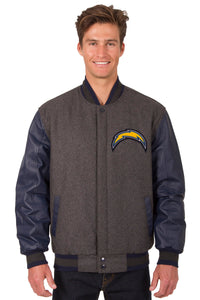 Los Angeles Chargers Wool & Leather Reversible Jacket w/ Embroidered Logos - Charcoal/Navy - JH Design