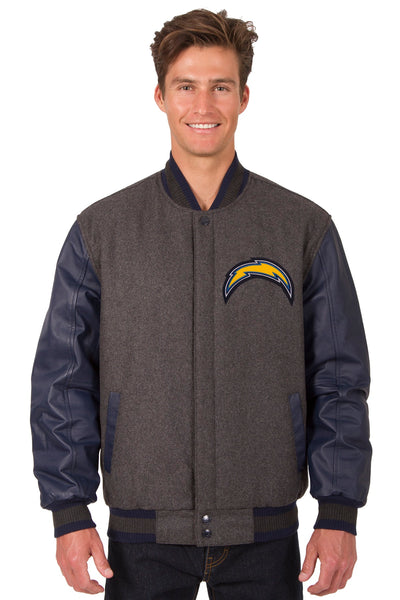 Los Angeles Chargers Wool & Leather Reversible Jacket w/ Embroidered Logos - Charcoal/Navy