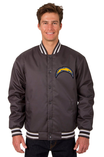 Los Angeles Chargers Poly Twill Varsity Jacket - Charcoal