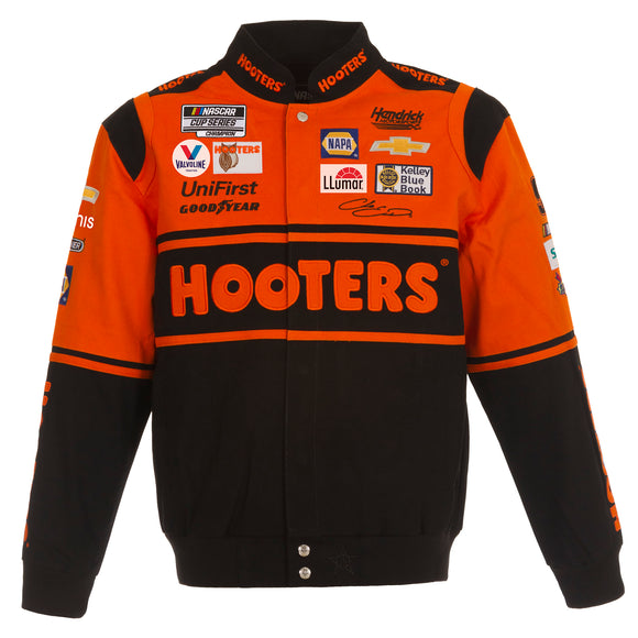 2021 Chase Elliott JH Design Hooters Twill Uniform Full-Snap Jacket - JH Design