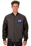 Chase Elliott Wool & Leather Varsity Jacket - Charcoal/Black