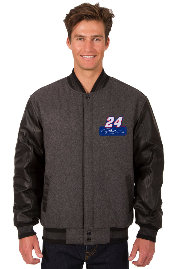 Chase Elliott Wool & Leather Varsity Jacket - Charcoal/Black - JH Design