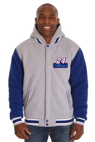 Chase Elliott Two-Tone Reversible Fleece Hooded Jacket - Gray/Royal
