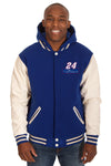 Chase Elliott Two-Tone Reversible Fleece & PU Leather Hooded Jacket - Royal/Cream