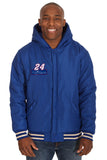 Chase Elliott Two-Tone Reversible Fleece & PU Leather Hooded Jacket - Royal/Cream - JH Design