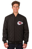 Kansas City Chiefs Wool & Leather Reversible Jacket w/ Embroidered Logos - Black