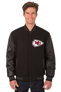 Kansas City Chiefs Wool & Leather Reversible Jacket w/ Embroidered Logos - Black - JH Design