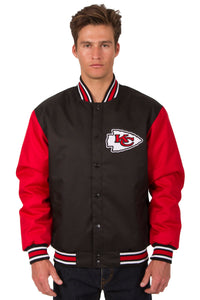 Kansas City Chiefs Poly Twill Varsity Jacket - Black/Red - JH Design