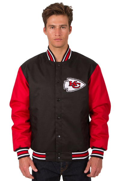 Kansas City Chiefs Poly Twill Varsity Jacket - Black/Red