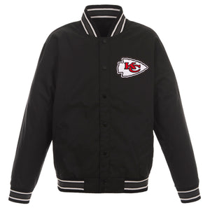 Kansas City Chiefs Poly Twill Varsity Jacket - Black - JH Design