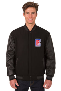 Los Angeles Clippers Wool & Leather Reversible Jacket w/ Embroidered Logos - Black - JH Design