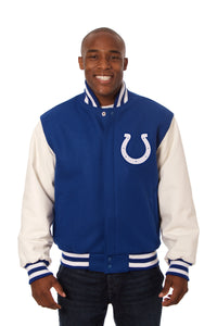 Indianapolis Colts Two-Tone Wool and Leather Jacket - Royal/White - JH Design