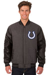 Indianapolis Colts Wool & Leather Reversible Jacket w/ Embroidered Logos - Charcoal/Black