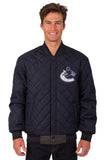 Vancouver Canucks Wool & Leather Reversible Jacket w/ Embroidered Logos - Charcoal/Navy - JH Design