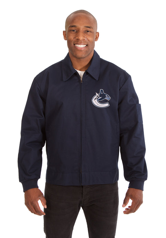 Vancouver Canucks Cotton Twill Workwear Jacket - Navy - JH Design
