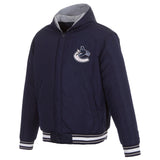 Vancouver Canucks Two-Tone Reversible Fleece Hooded Jacket - Navy/Grey - JH Design