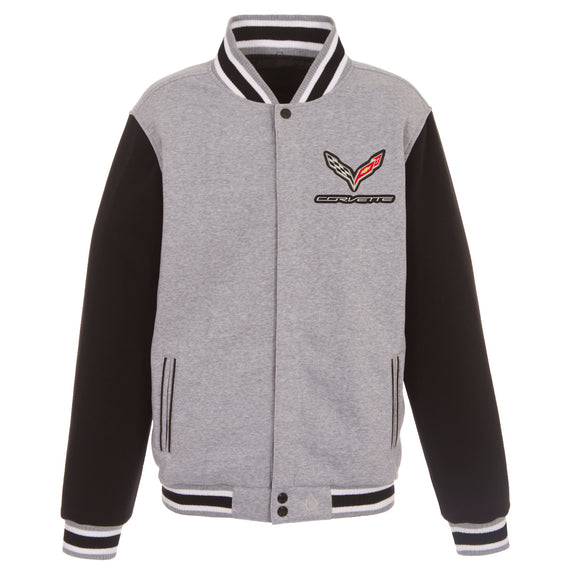 Corvette Two-Tone Reversible Fleece Jacket - Gray/Black - JH Design