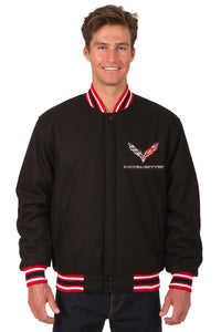 Corvette Wool Varsity Jacket - Black/Red