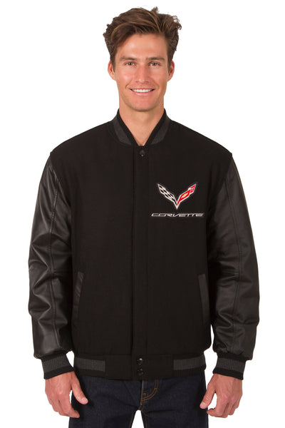 Corvette Wool & Leather Reversible Varsity Jacket - Black