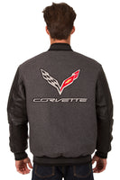 Corvette Wool & Leather Reversible Varsity Jacket - Charcoal/Black