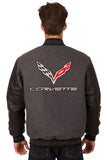 Corvette Wool & Leather Reversible Varsity Jacket - Charcoal/Black - JH Design