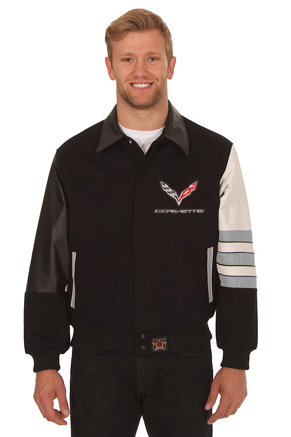 Corvette Embroidered Wool & Leather Jacket - Black/Grey - JH Design