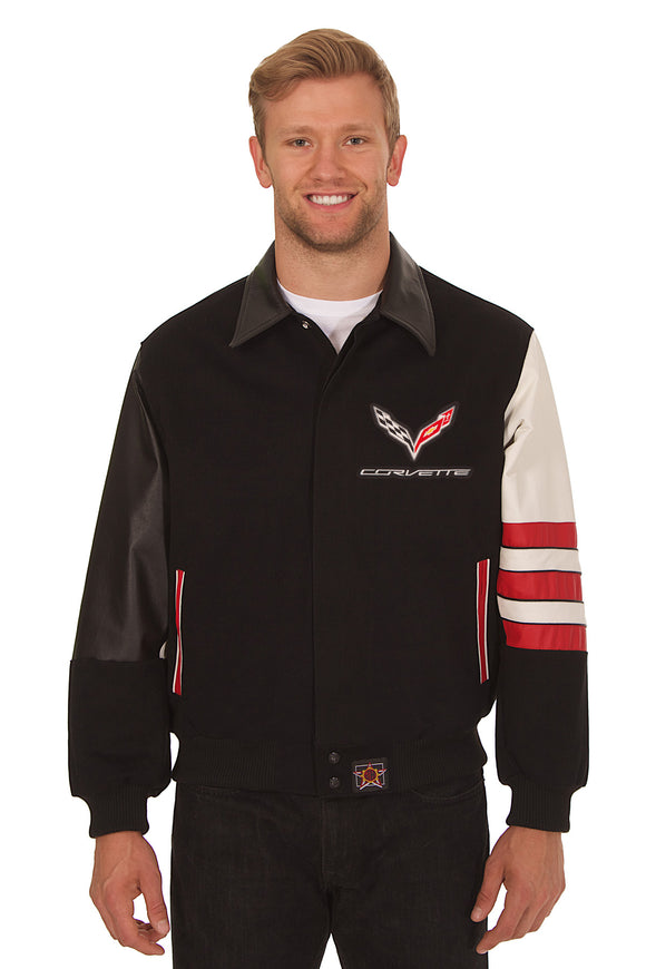 Corvette Embroidered Wool & Leather Jacket - Black/Red - JH Design