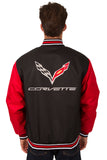 Corvette Poly Twill Varsity Jacket - Black/Red