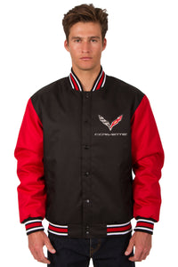 Corvette Poly Twill Varsity Jacket - Black/Red - JH Design