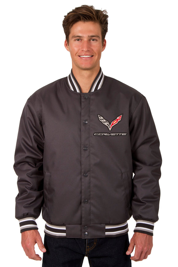 Corvette Poly Twill Varsity Jacket - Charcoal - JH Design