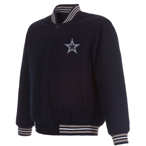 Dallas Cowboys Reversible Wool Jacket - Navy - JH Design