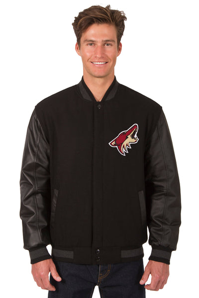 Arizona Coyotes Wool & Leather Reversible Jacket w/ Embroidered Logos - Black