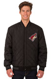 Arizona Coyotes Wool & Leather Reversible Jacket w/ Embroidered Logos - Black - JH Design