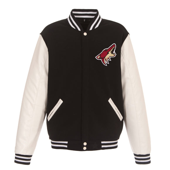Arizona Coyotes JH Design Reversible Fleece Jacket with Faux Leather Sleeves - Black/White - JH Design