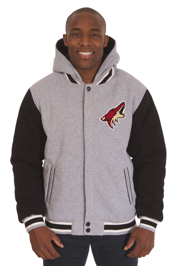 Arizona Coyotes Two-Tone Reversible Fleece Hooded Jacket - Gray/Black - JH Design