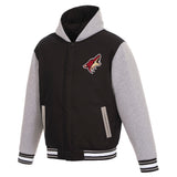 Arizona Coyotes Two-Tone Reversible Fleece Hooded Jacket - Black/Grey - JH Design